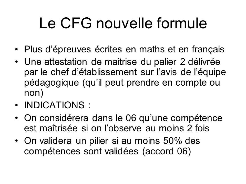 Le CFG nouvelle formule