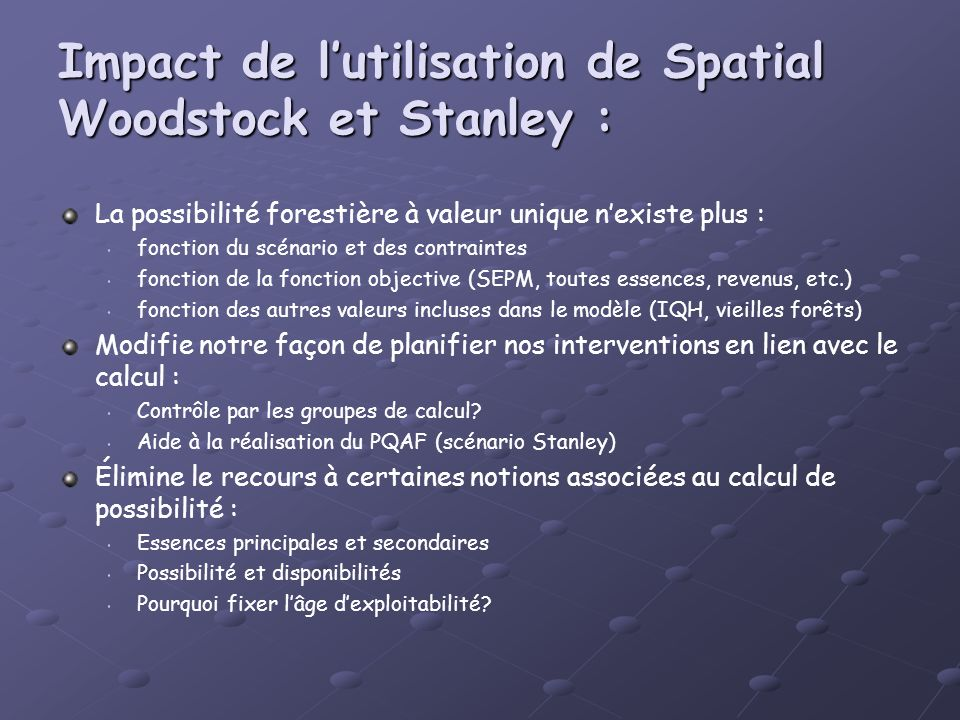 Impact de l'utilisation de Spatial Woodstock et Stanley :