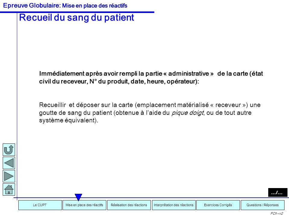 Recueil du sang du patient