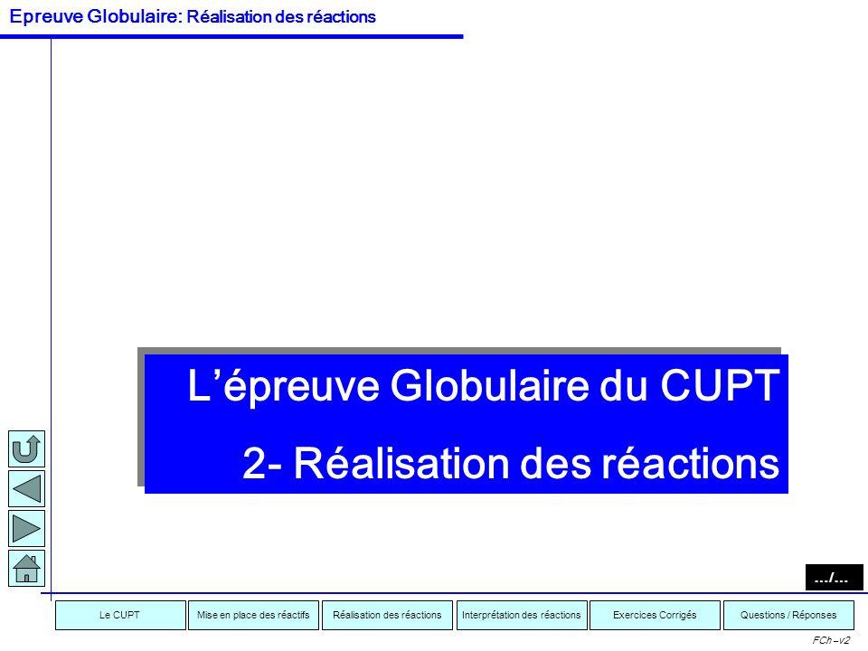 L'épreuve Globulaire du CUPT 2- Réalisation des réactions
