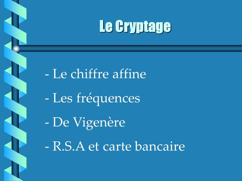 Le Cryptage - Le chiffre affine - Les fréquences - De Vigenère