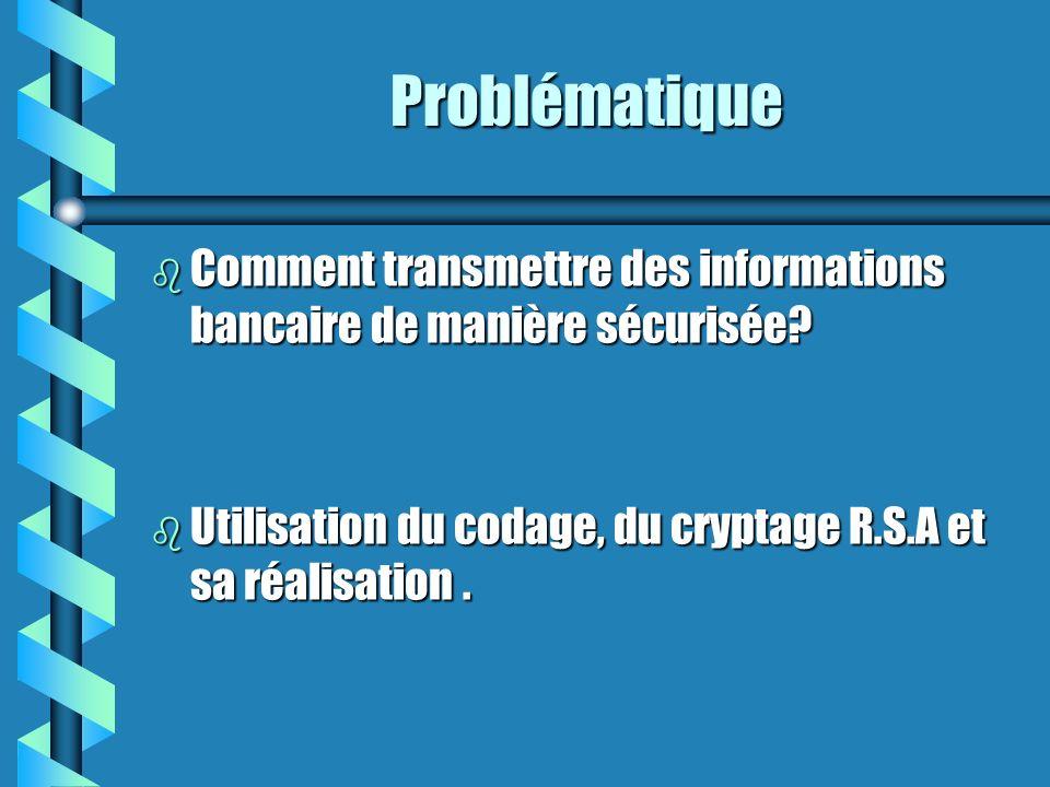 Problématique Comment transmettre des informations bancaire de manière sécurisée.