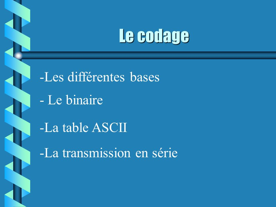 Le codage -Les différentes bases - Le binaire -La table ASCII