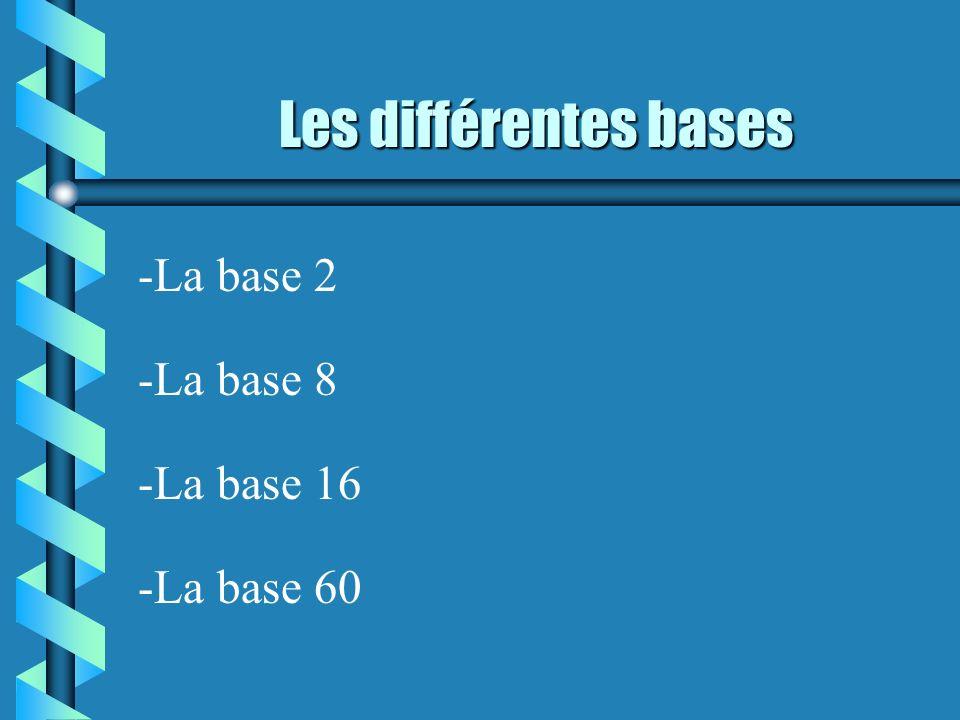 Les différentes bases -La base 2 -La base 8 -La base 16 -La base 60