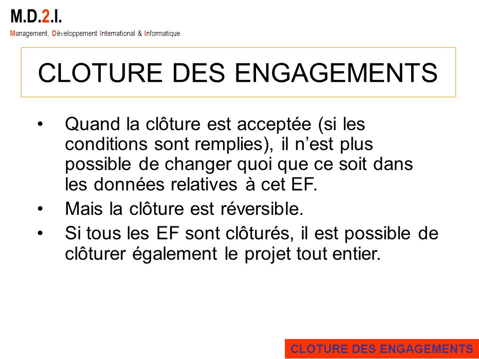 CLOTURE DES ENGAGEMENTS