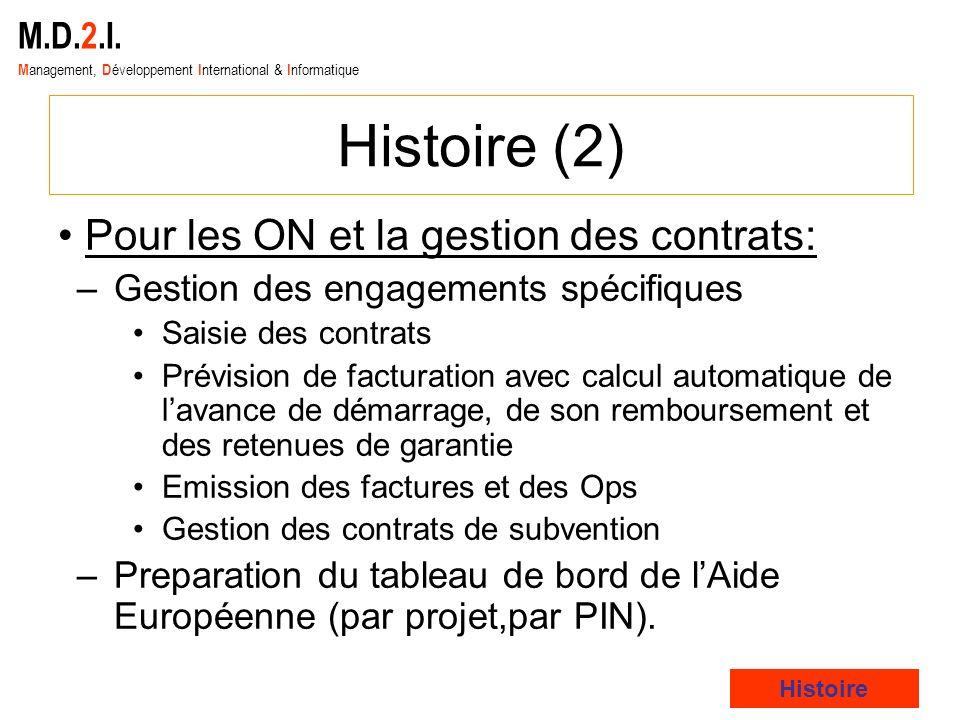 Histoire (2) Pour les ON et la gestion des contrats: M.D.2.I.