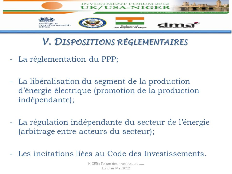 V. Dispositions réglementaires