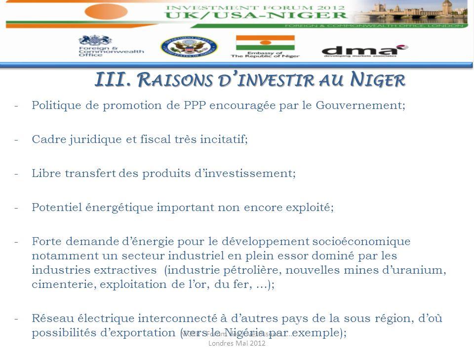 III. Raisons d'investir au Niger
