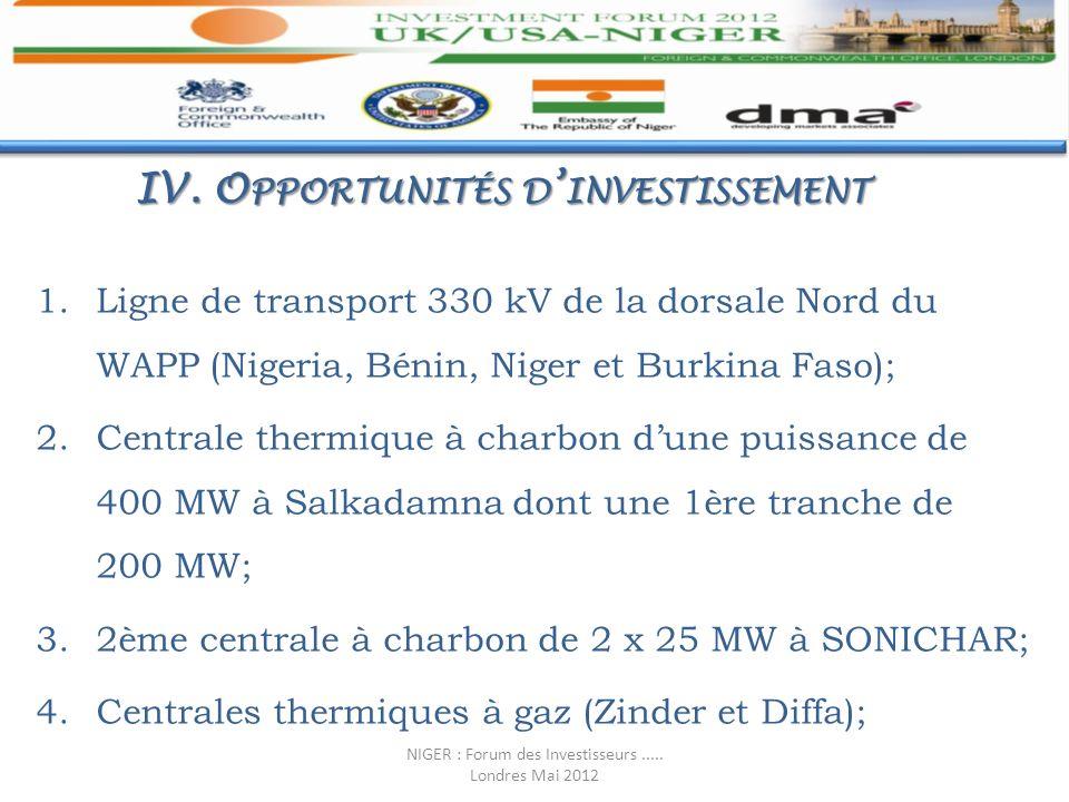 IV. Opportunités d'investissement