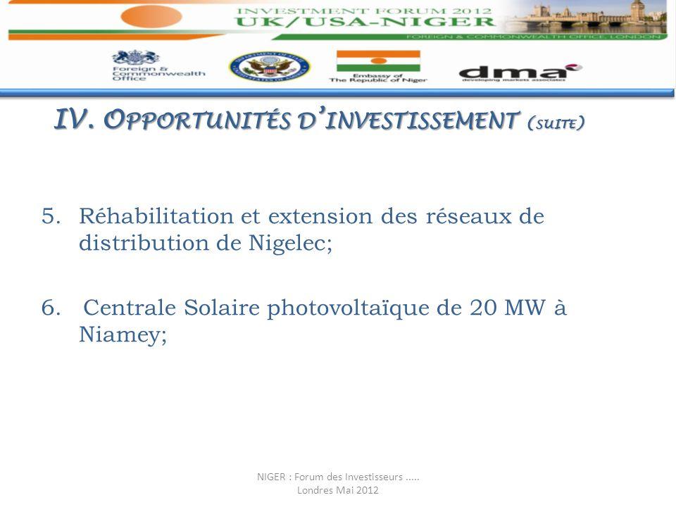IV. Opportunités d'investissement (suite)