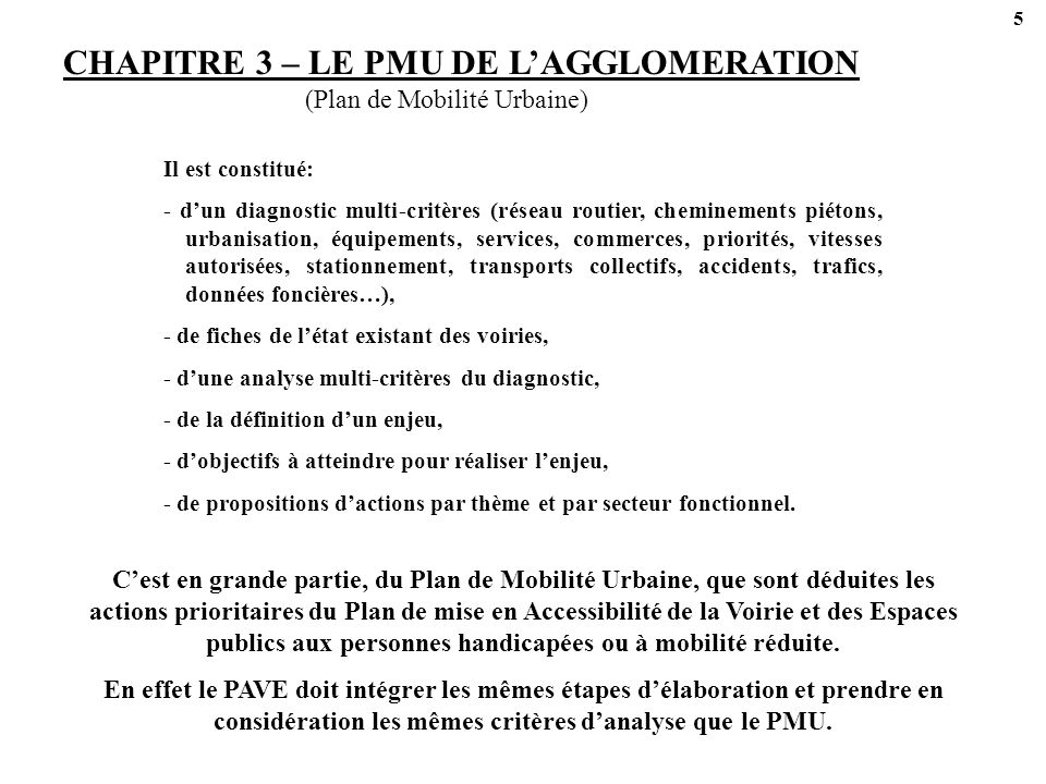 CHAPITRE 3 – LE PMU DE L'AGGLOMERATION