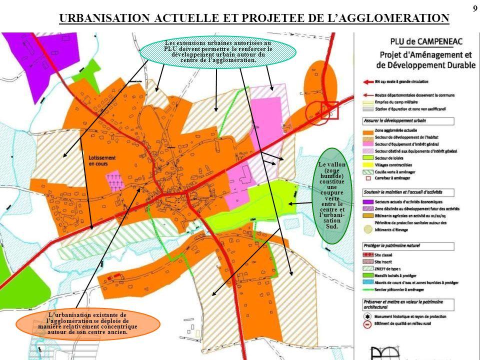 URBANISATION ACTUELLE ET PROJETEE DE L'AGGLOMERATION