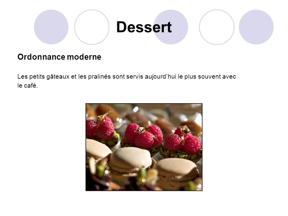 Dessert Ordonnance moderne