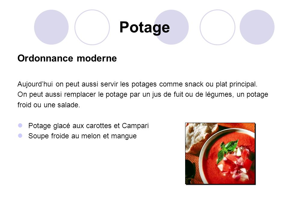 Potage Ordonnance moderne