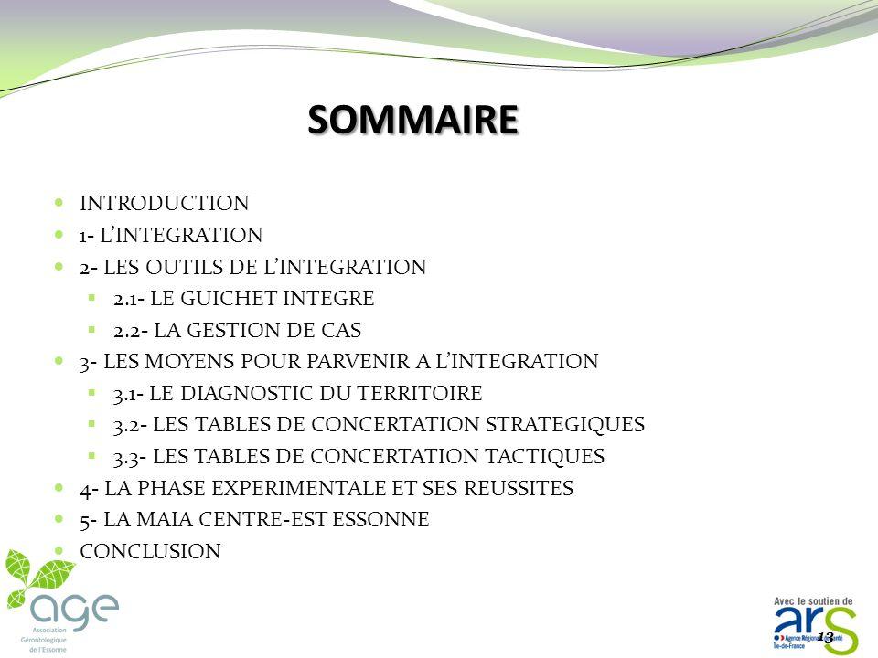 SOMMAIRE INTRODUCTION 1- L'INTEGRATION 2- LES OUTILS DE L'INTEGRATION