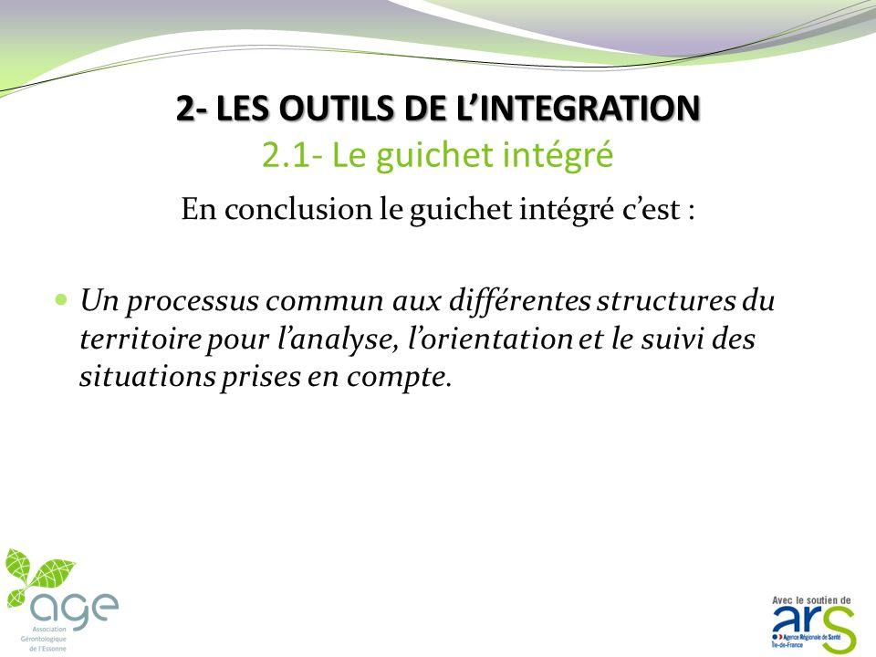 2- LES OUTILS DE L'INTEGRATION 2.1- Le guichet intégré