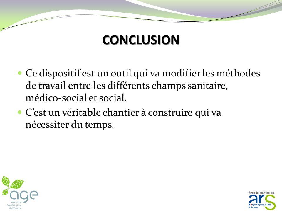 CONCLUSION Ce dispositif est un outil qui va modifier les méthodes de travail entre les différents champs sanitaire, médico-social et social.