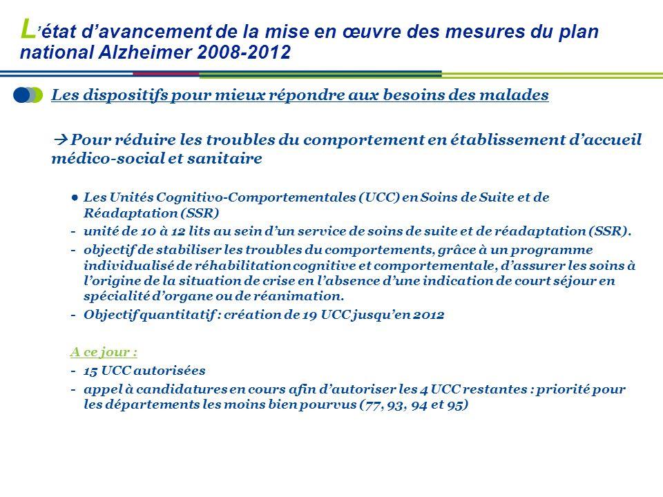 L'état d'avancement de la mise en œuvre des mesures du plan national Alzheimer 2008-2012