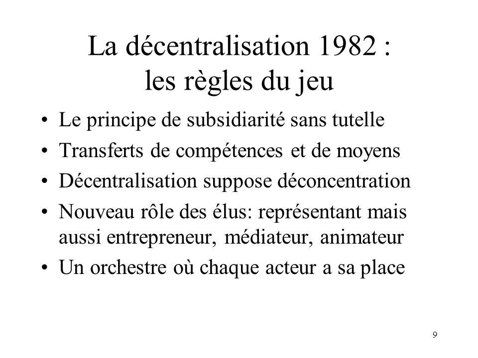 Les lois de décentralisation (1982 et suivantes)