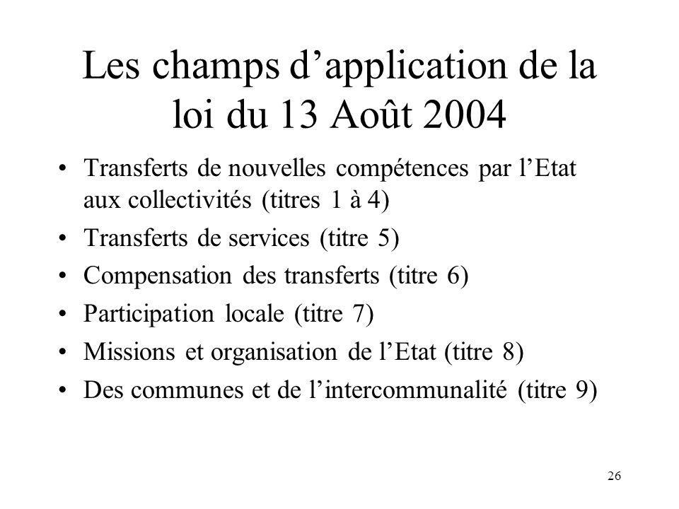 Les ambitions de la loi du 13 Août 2004