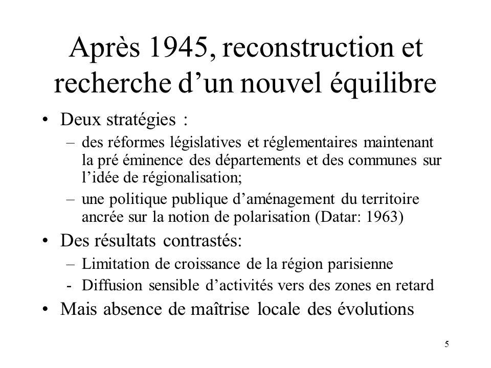 Durant les années 50 Des craquements apparaissent sur la question des découpages territoriaux.