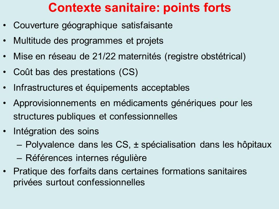 Contexte sanitaire: points forts