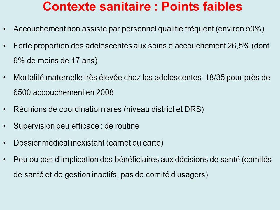 Contexte sanitaire : Points faibles