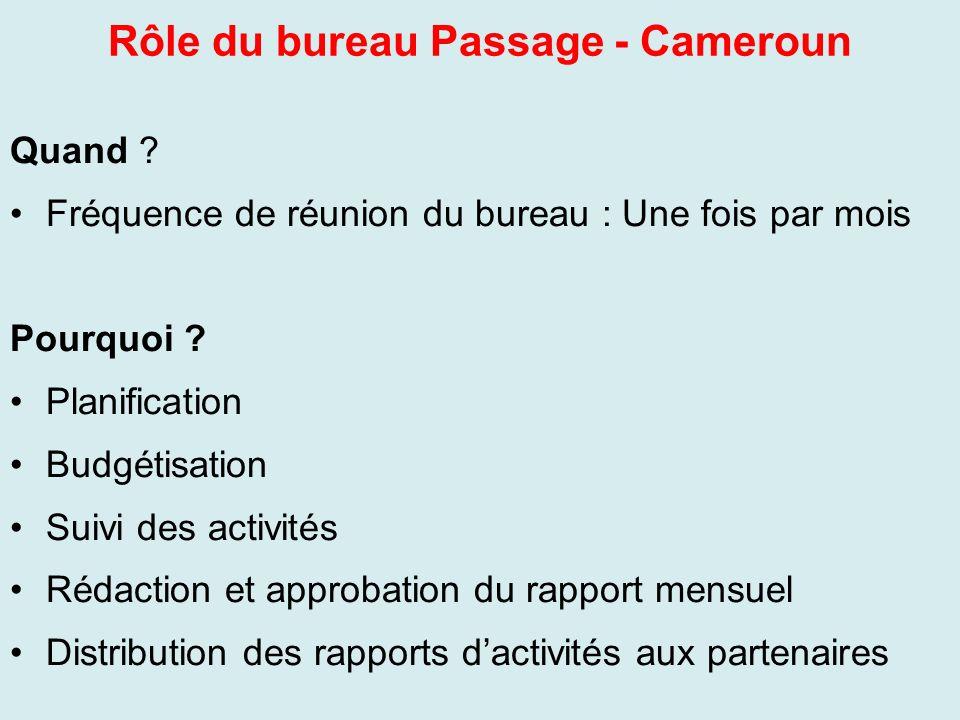 Rôle du bureau Passage - Cameroun