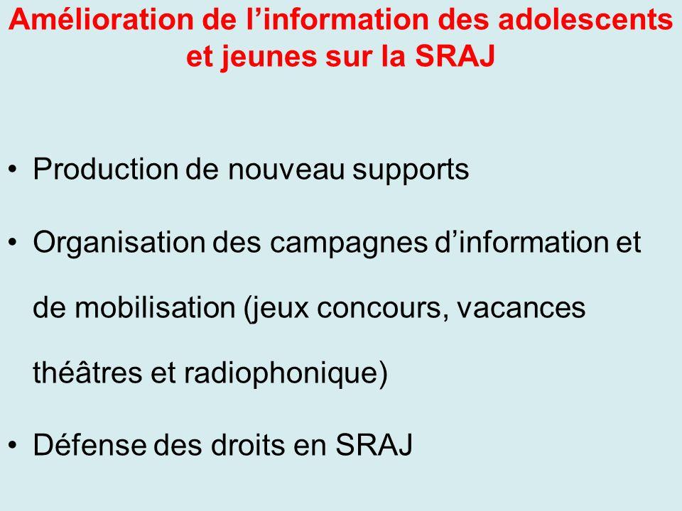 Amélioration de l'information des adolescents et jeunes sur la SRAJ
