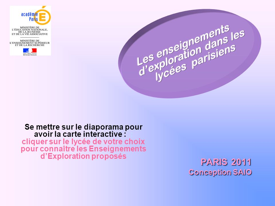 Les enseignements d'exploration dans les lycées parisiens