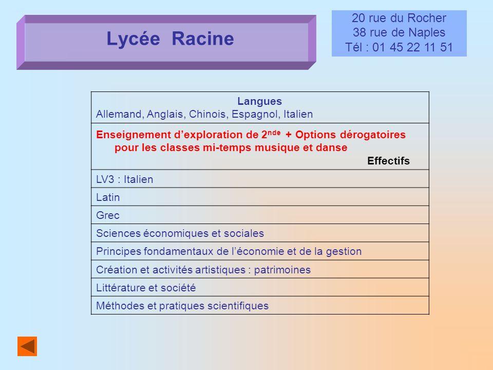 Lycée Racine 20 rue du Rocher 38 rue de Naples Tél : 01 45 22 11 51