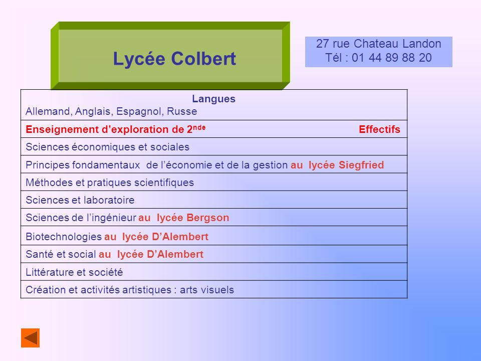 Lycée Colbert 27 rue Chateau Landon Tél : 01 44 89 88 20 Langues