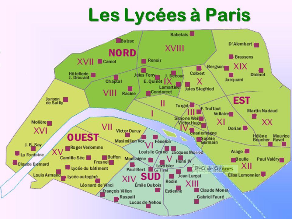 Les Lycées à Paris P-G de Gennes G. Tirel