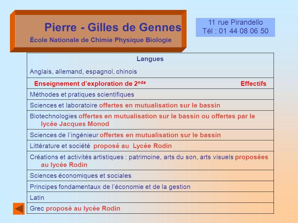 Pierre - Gilles de Gennes École Nationale de Chimie Physique Biologie
