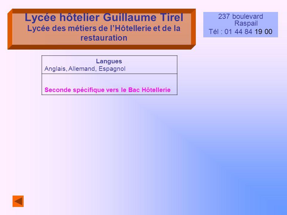Lycée hôtelier Guillaume Tirel Lycée des métiers de l'Hôtellerie et de la restauration