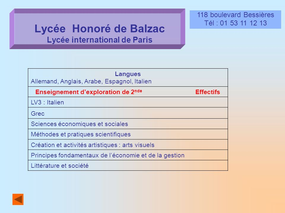 Lycée Honoré de Balzac Lycée international de Paris
