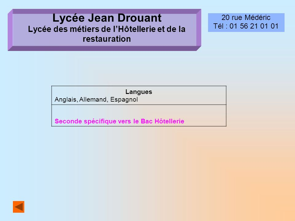 Lycée Jean Drouant Lycée des métiers de l'Hôtellerie et de la restauration
