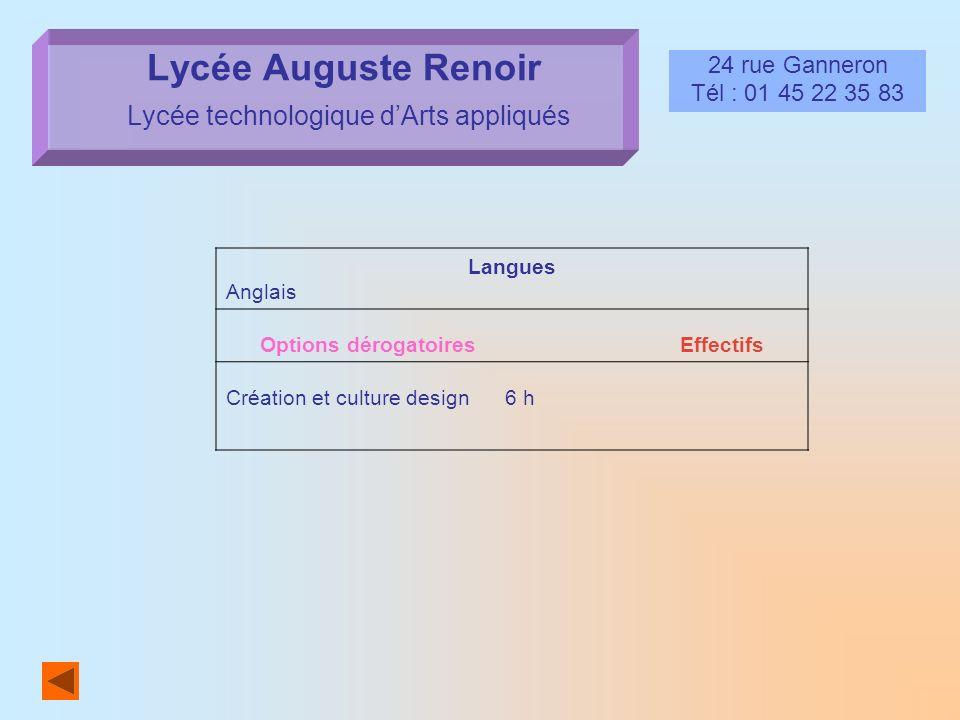 Lycée Auguste Renoir Lycée technologique d'Arts appliqués
