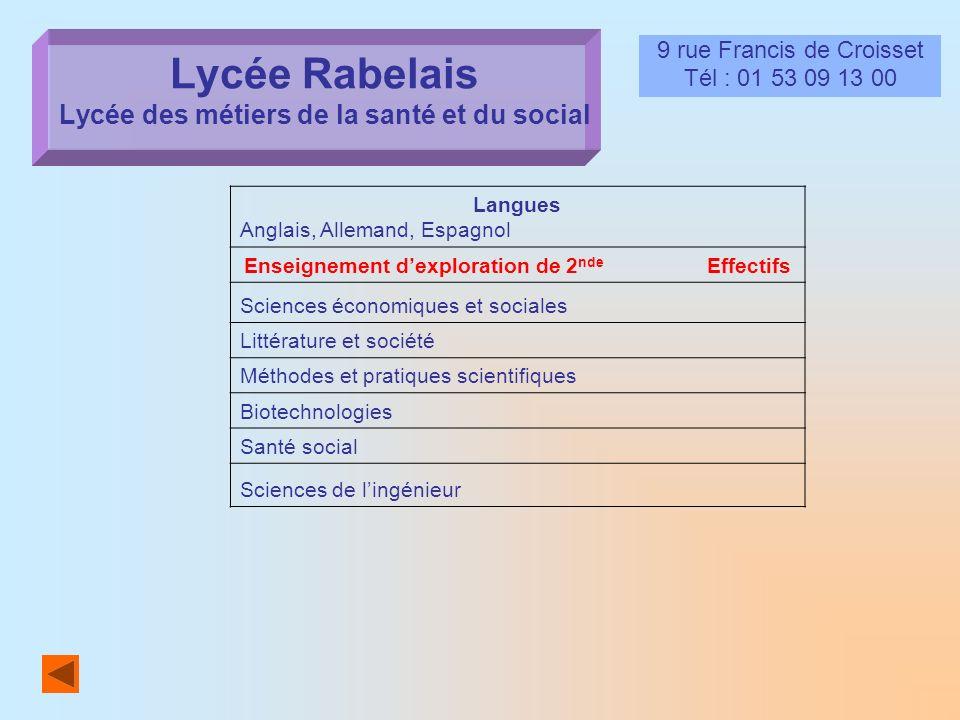 Lycée Rabelais Lycée des métiers de la santé et du social