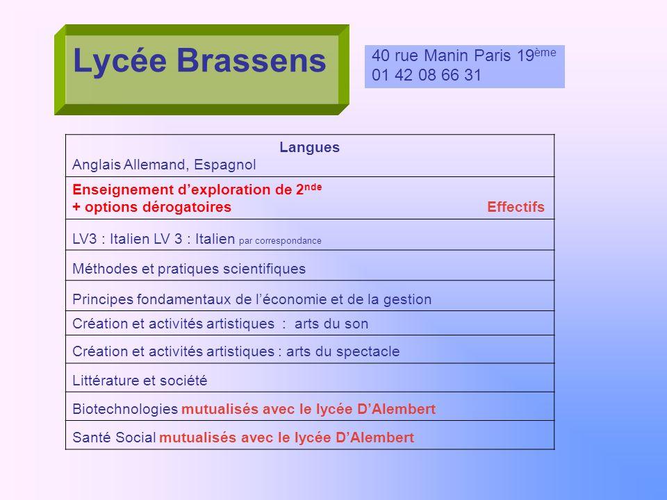 Lycée Brassens 40 rue Manin Paris 19ème 01 42 08 66 31 Langues