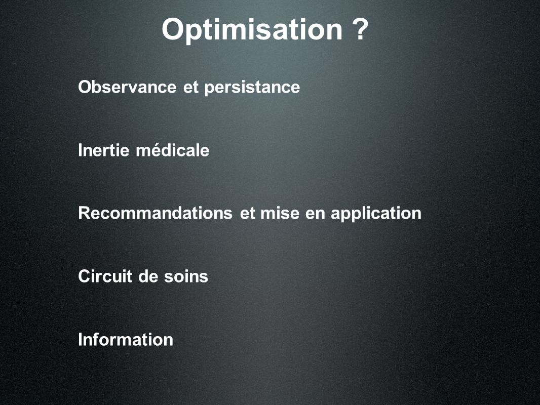 Optimisation Observance et persistance Inertie médicale