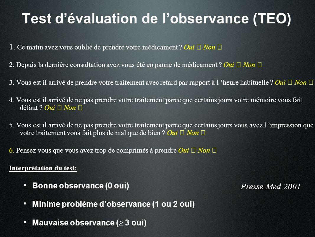 Test d'évaluation de l'observance (TEO)