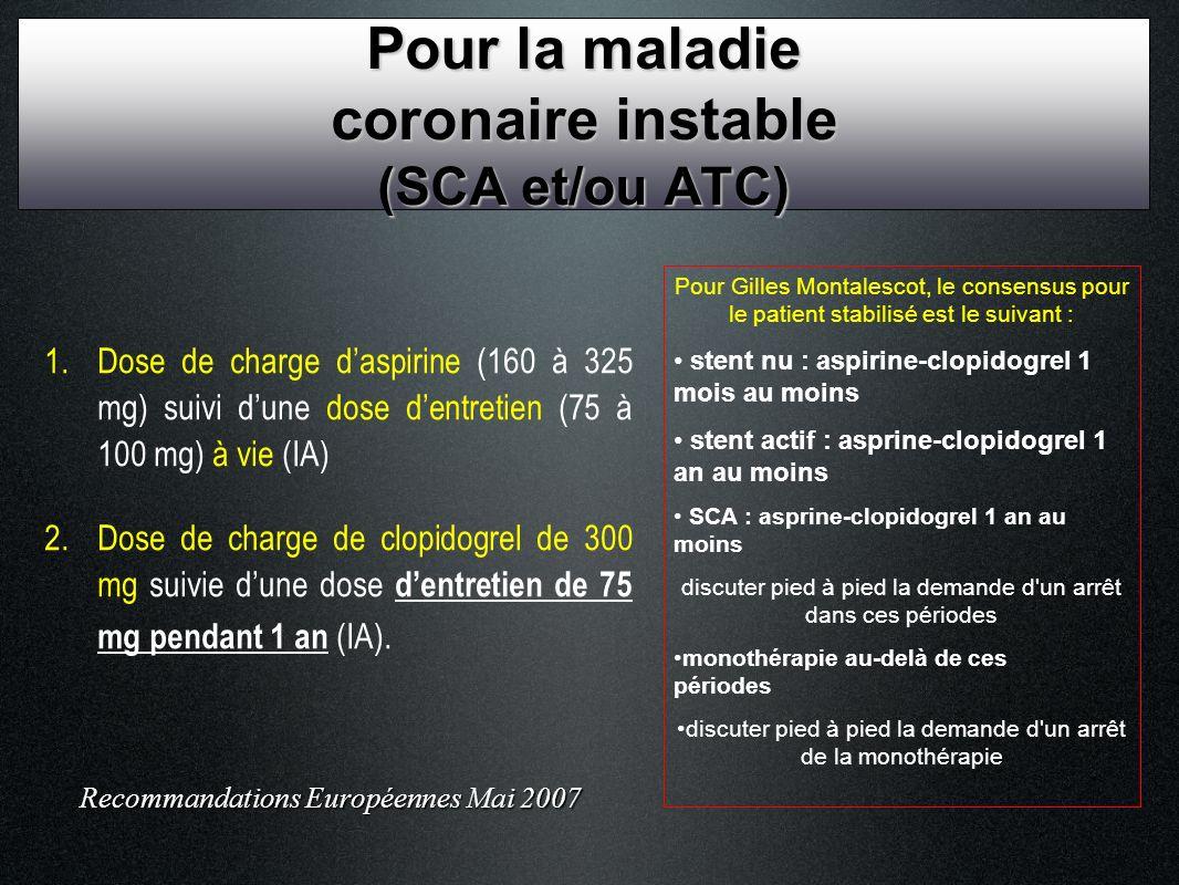 Pour la maladie coronaire instable (SCA et/ou ATC)