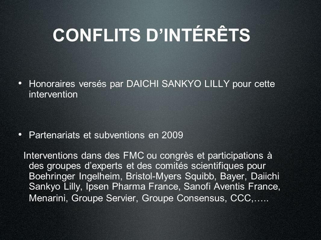 CONFLITS D'INTÉRÊTS Honoraires versés par DAICHI SANKYO LILLY pour cette intervention. Partenariats et subventions en 2009.