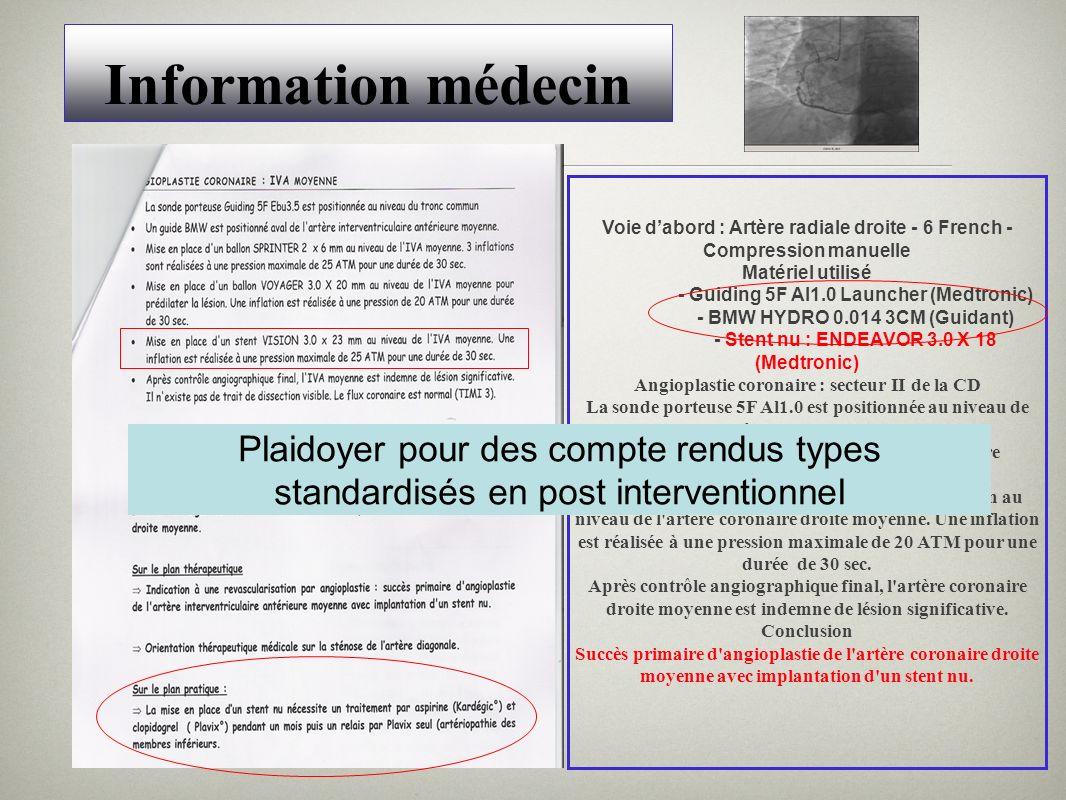 Information médecin Voie d'abord : Artère radiale droite - 6 French - Compression manuelle. Matériel utilisé.