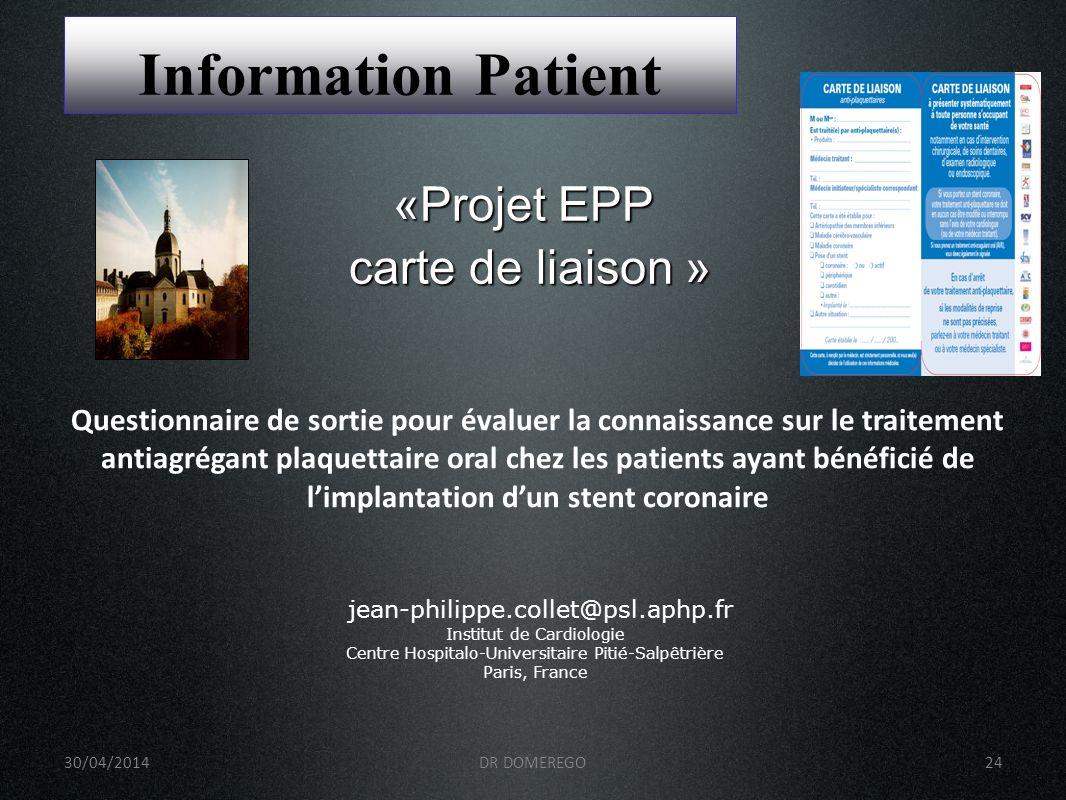 Information Patient «Projet EPP carte de liaison »