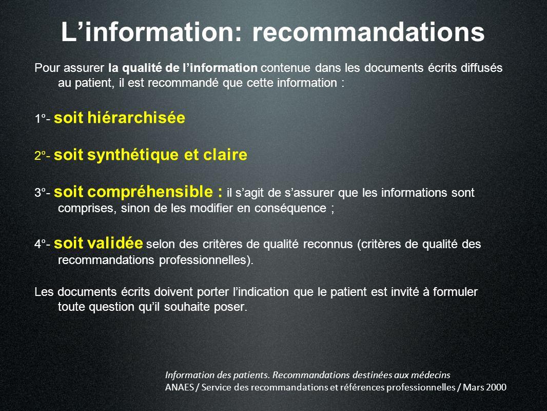 L'information: recommandations