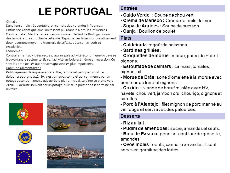 LE PORTUGAL Entrées.