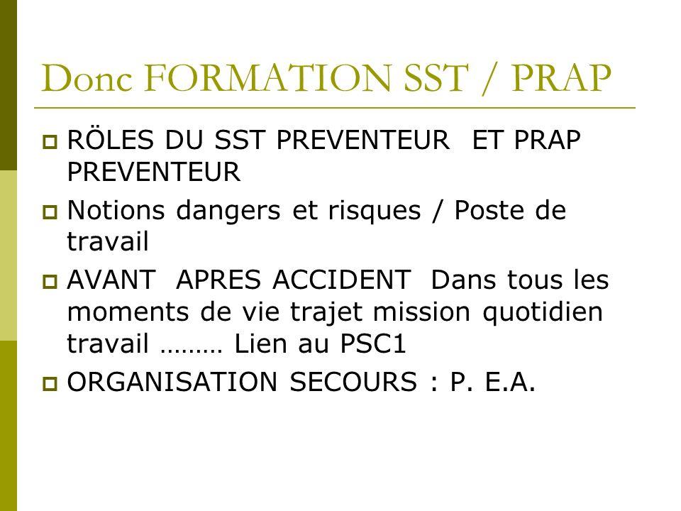 Donc FORMATION SST / PRAP