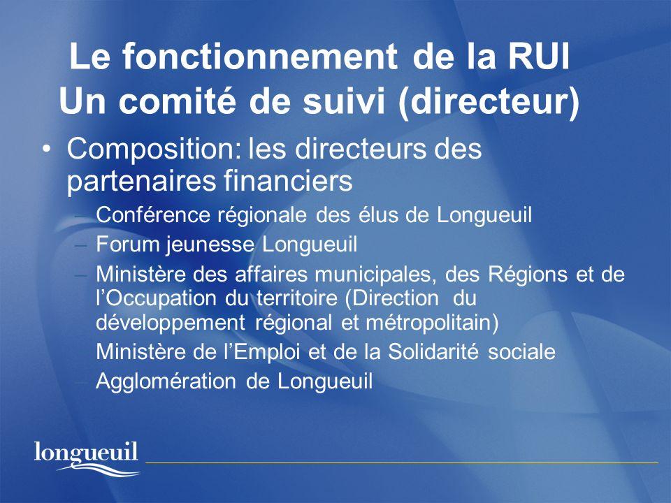 Le fonctionnement de la RUI Un comité de suivi (directeur)